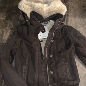 Hollister fur lined coat